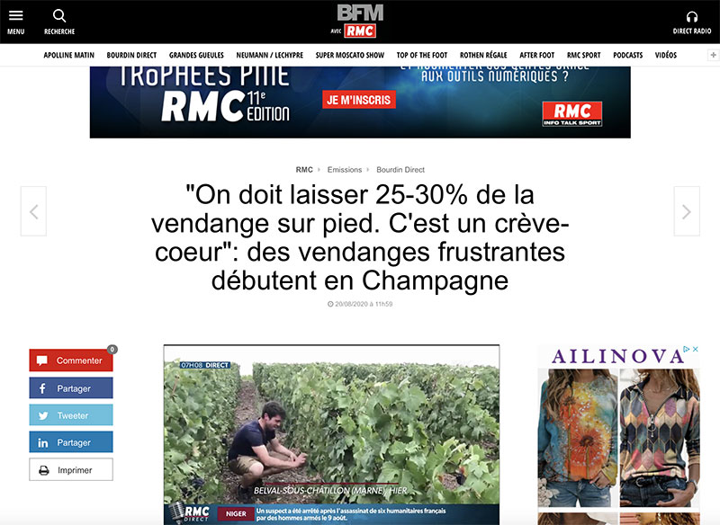 LA MATINALE BFM TV : Vendanges 2020